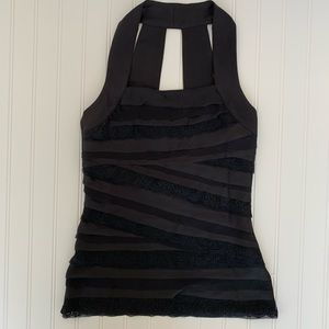 White House & Black Market Black satin & lace top